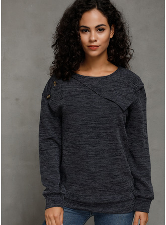 Long Sleeves Cotton Round Neck Plést Halenky