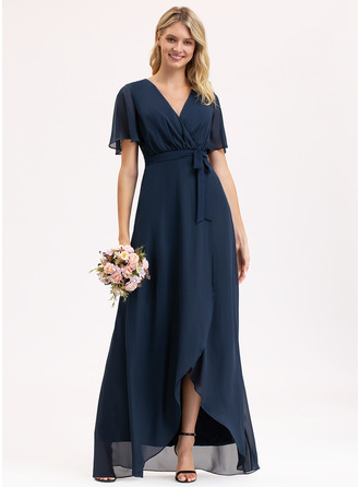 V-neck Asymmetrical Chiffon Bridesmaid Dress With Bow(s)