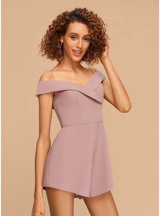 A-Line Off-the-Shoulder Short/Mini Stretch Crepe Homecoming Dress