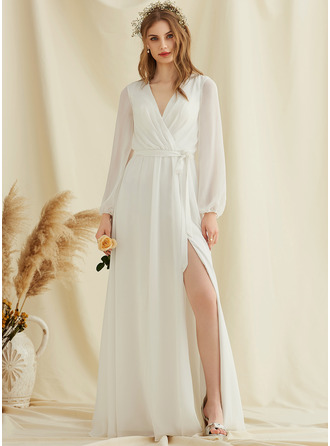 V-Neck Long Sleeves Maxi Dresses