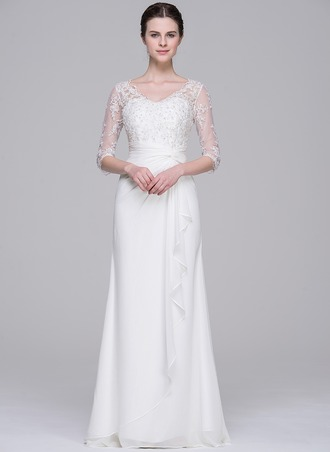 A-Line/Princess V-neck Floor-Length Chiffon Wedding Dress With Beading Sequins Cascading Ruffles