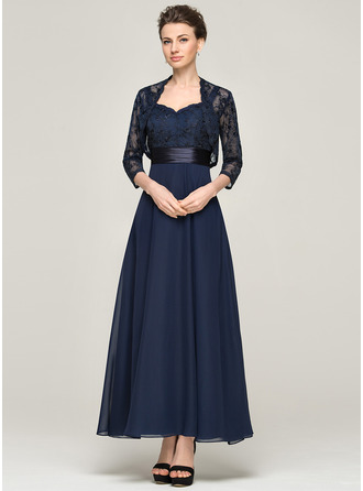 A-Line Sweetheart Ankle-Length Chiffon Lace Mother of the Bride Dress