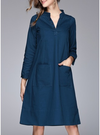 Cotton Blends With Crumple Knee Length Dress