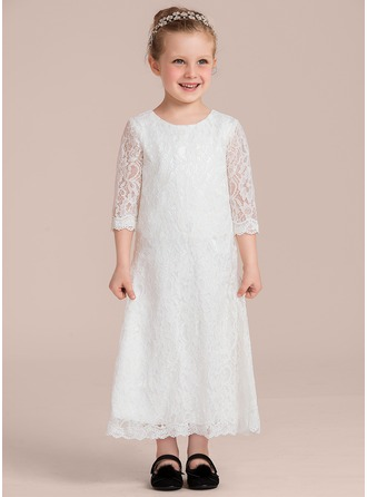 A-Line/Princess Ankle-length Flower Girl Dress - Lace 3/4 Sleeves Scoop Neck