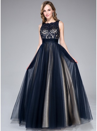 Ball-Gown Scoop Neck Floor-Length Tulle Prom Dress With Beading Sequins Bow(s)