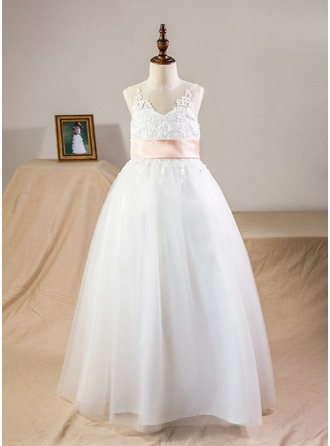 Ball Gown Floor-length Flower Girl Dress - Satin/Tulle/Lace Sleeveless Scoop Neck With Sash/Bow(s)/Back Hole