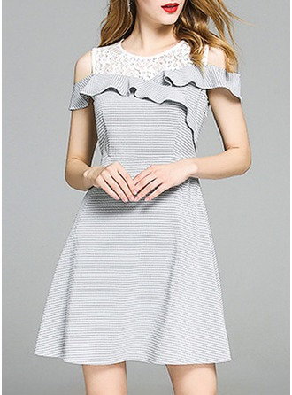 Polyester With Lace/Stitching/Hollow/Ruffles Above Knee Dress