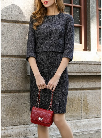 Polyester/Cotton/Woolen With Stitching Above Knee Dress