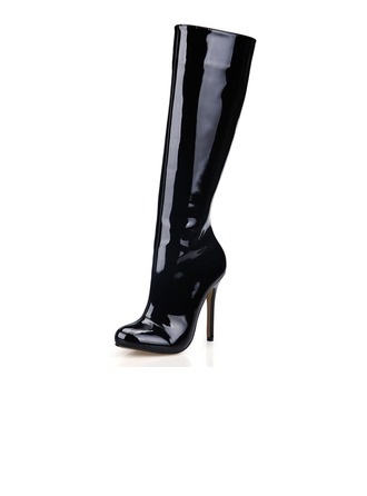 Women's Patent Leather Stiletto Heel Closed Toe Knee High Boots shoes