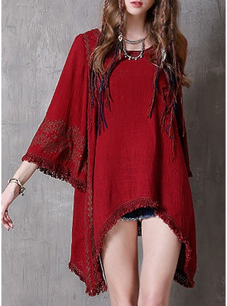 Linen With Tassel/Embroidery Above Knee Dress