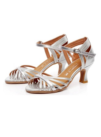 Women's Real Leather Heels Sandals Latin With Ankle Strap Dance Shoes
