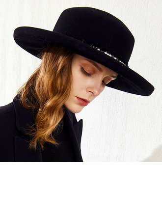 Ladies' Classic/Elegant Wool With Imitation Pearls Floppy Hats