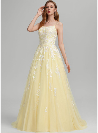 Ball-Gown/Princess Square Neckline Sweep Train Tulle Prom Dresses