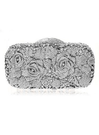 Elegant Crystal/ Rhinestone/Silver Plated Clutches/Bridal Purse/Luxury Clutches