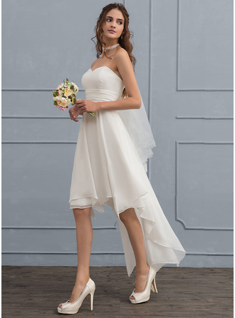 Sweetheart Asymmetrical Chiffon Wedding Dress