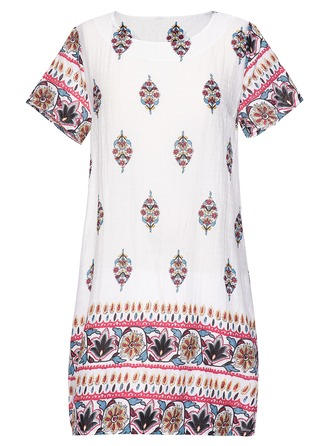 Cotton/Linen With Print Knee Length Dress