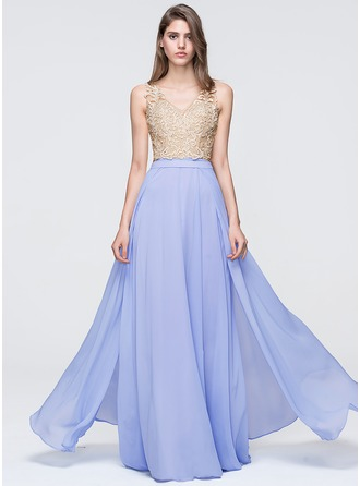 A-Line/Princess V-neck Floor-Length Chiffon Prom Dress With Beading Sequins