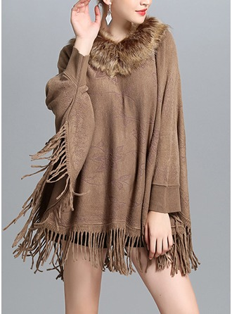 Solid Color/Tassel Cold weather Acrylic Poncho