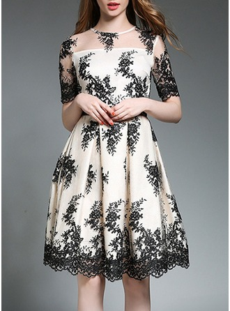 Polyester/Lace With Embroidery Above Knee Dress