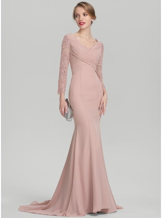 Trumpet/Mermaid V-neck Sweep Train Chiffon Lace Mother of the Bride Dress With Ruffle