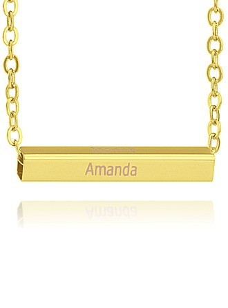 Custom 18k Gold Plated Silver Nameplate Bar Necklace
