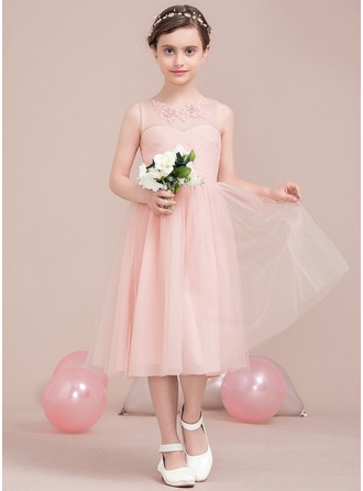 A-Line/Princess Scoop Neck Knee-Length Tulle Junior Bridesmaid Dress With Ruffle Lace Beading Sequins