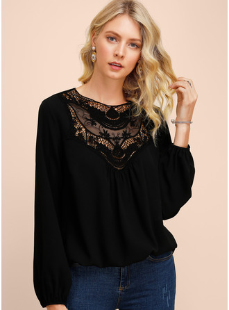 Long Sleeves Polyester Round Neck Blouses