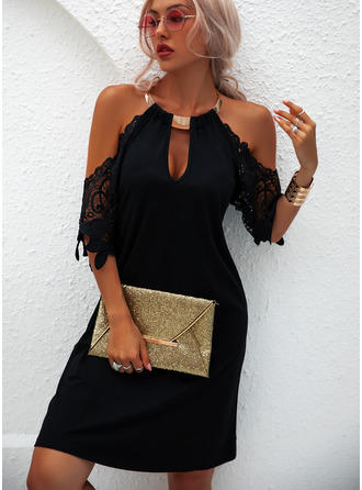 Halter 1/2 Sleeves Cold Shoulder Sleeve Midi Dresses