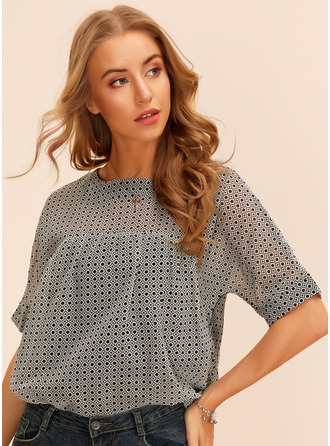 1/2 Sleeves Chiffon Round Neck Blouses