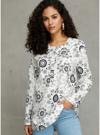 Long Sleeves Cotton Blends V Neck Blouses