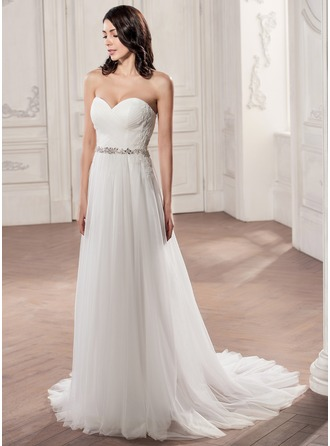 A-Line/Princess Sweetheart Court Train Tulle Wedding Dress With Ruffle Beading Appliques Lace Sequins