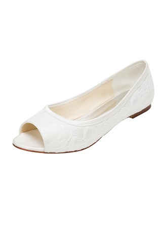 Women's Lace Silk Like Satin Flat Heel Flats Peep Toe
