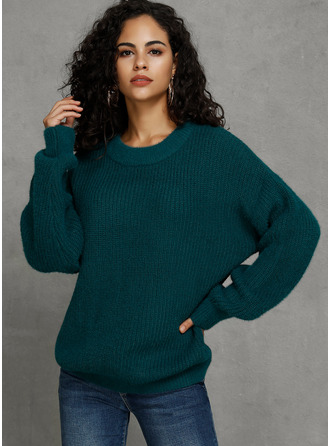 Solid Polyester Pullovers Sweaters