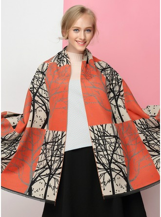 Geometric Print Light Weight/fashion Artificial Wool Scarf