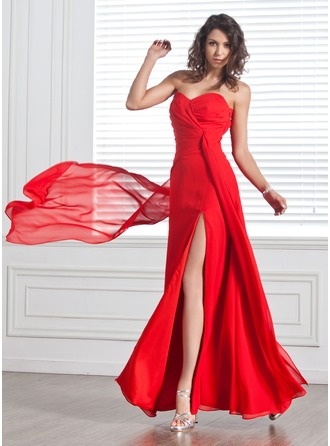 A-Line/Princess Sweetheart Floor-Length Chiffon Evening Dress With Ruffle Split Front