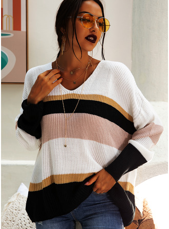 Couleurs Opposées Pulls Tricot à Câble Gros tricot Polyester Col V Pull-overs Pulls
