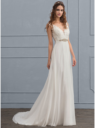 A-Line V-neck Court Train Chiffon Wedding Dress With Beading Sequins