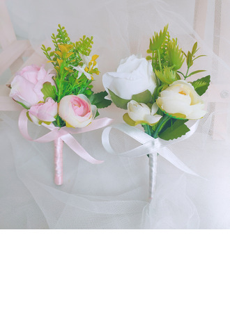 Classic Hand-tied Satin/Artificial Flower Boutonniere (Sold in a single piece) - Boutonniere