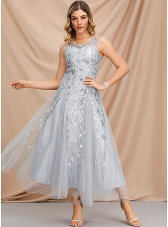 A-Line V-neck Ankle-Length Homecoming Dress
