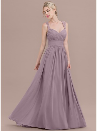 A-Line/Princess Sweetheart Sweep Train Chiffon Evening Dress With Ruffle Lace