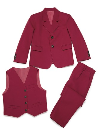 Boys Solid Ring Bearer Suits With Jacket Vest Pants