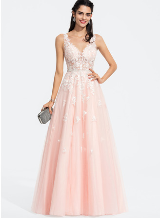 A-Line V-neck Floor-Length Tulle Prom Dresses With Beading Sequins