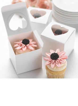 Heart Cut–outs Cubic Card Paper Favor Boxes & Containers/Cupcake Boxes