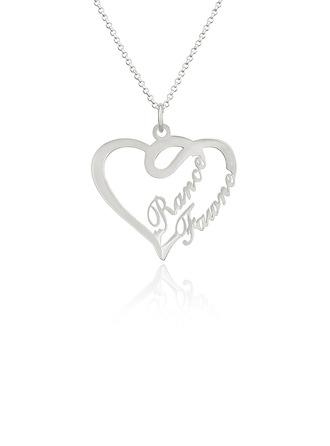 Custom Sterling Silver Two Name Necklace Heart Necklace