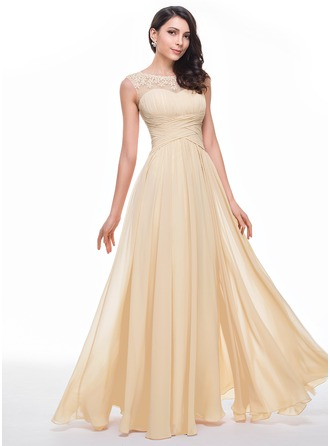 Scoop Neck Floor-Length Chiffon Prom Dresses With Ruffle Beading Flower(s)