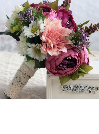 Classic Round Satin/Silk Bridal Bouquets/Bridesmaid Bouquets (Sold in a single piece) -
