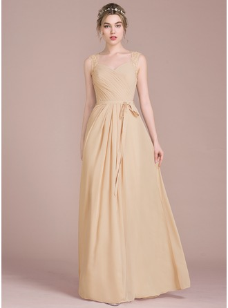 A-Line/Princess Sweetheart Floor-Length Chiffon Prom Dress With Ruffle Lace Beading Sequins Bow(s)