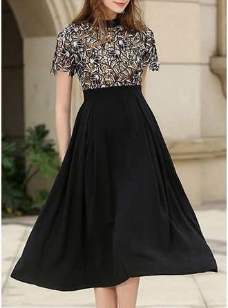 Polyester/Lace With Embroidery Midi Dress