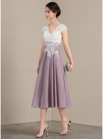 V-neck Tea-Length Chiffon Lace Cocktail Dress
