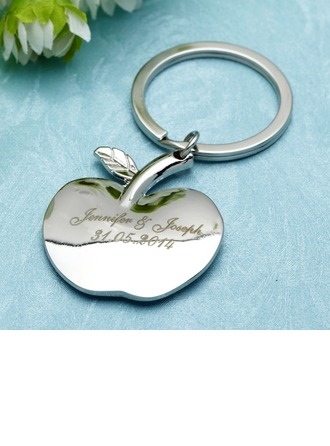 "Personalized ""Apple of My Eye"" Stainless Steel Keychains"